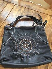 womens purses and handbags/Franco Sarto Black Leather Shoulder Satchel Bag