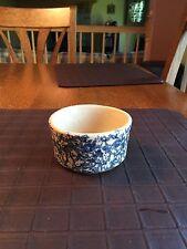 Vintage Roseville RRP Co Ohio Pottery Blue & Tan Spatterware Custard Bowl