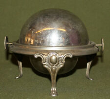 Vintage metal roll top footed globe caviar butter bowl