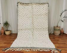 "Moroccan Handmade Beni Ourain Wool Rug 5'2""x8'9"" Black Dotted White Berber Rug"