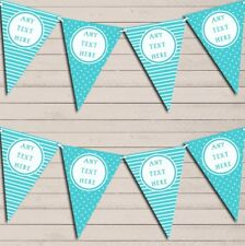 Stripes & Polka Dot Aqua Blue Personalised Birthday Bunting