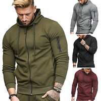 Men Hoodie Sweatshirt Gym Jacket Hooded Zip Pocket Outwear Jumper Winter Sweater