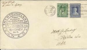 Newfoundland FIRST FLIGHT Mu#41 St John''s MAY/1/1942 to Sydney onward to USA