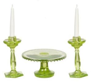 Dolls House Green Cake Stand & Candlesticks Miniature Chrysnbon Dining Accessory