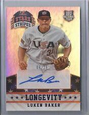 2015 Panini USA Stars & Stripes Baseball Luken Baker Longevity Auto Card #09/25