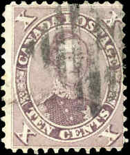 1859 Used Canada 10c F Scott #17 HRH Prince Albert First Cents Issue Stamp