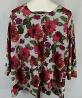 Croft & Barrow Womens Plus Gray Floral 3/4 Sleeve Top Size 2X