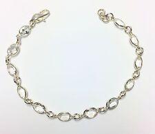 12 Ct White Topaz Line Bracelet 7x5mm ovals SS 7-7.5 inch Claw Clasp Handmade