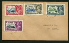 1935 Silver Jubilee St Helena set used on a local cover