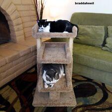 Cat Tree House Pet Bed Perch Furniture Condo Scratch Post Beige Play Sleep Hide