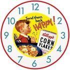 Kelloggs Cornflakes Riz Soufflé Vintage Rétro Mural Cuisine Horloge,30cm/50cm