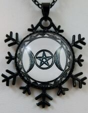 Wiccan Black Triple Goddess Pentacle Protection Glass Pendant Pagan Wicca Occult