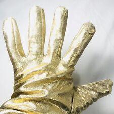 Women's Vintage Gold Gloves Costume Accessories Sparkling Sparkle Metallic Sz L
