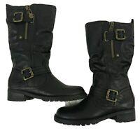 G by Guess Size 6 M Black Zip Buckle Women's Moto Combat Boots