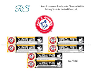 6 x Arm & Hammer Toothpaste Charcoal White Baking Soda Activated Charcoal 75ml