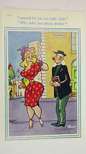 1950s Comic Postcard Blonde Boobs Hourglass Vicar Preacher London Piccadilly