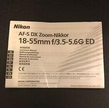 Nikon AF-S DX Zoom-Nikkor 18-55mm f/3.5-5.6G ED Lens - User Instruction Manual