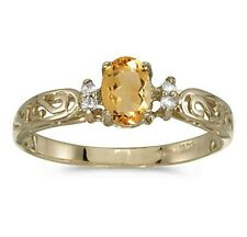 Genuine Citrine and Diamond Victorian Style Band 10K Yellow Gold Ring