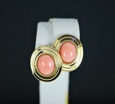 $1,750 Vintage 14K Yellow Gold Oval Cabochon Pink Angel Skin Coral Stud Earrings