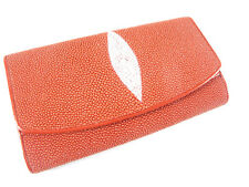 Genuine Stingray Skin Leather Women Trifold Clutch Wallet Red + Free Shipping