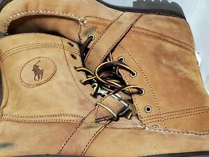 Polo Ralph Lauren Ranger Tan Brown Grain Leather Mens Sz 10.5 Boots Buckle