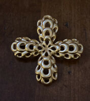 "Vintage Anne Klein Maltese Cross Gold tone brooch 2"""
