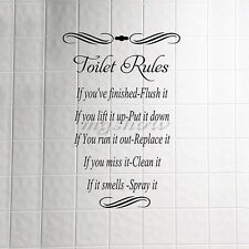 Toilet Rules Bathroom Removable Wall Sticker Vinyl Art Decals Home Decor DIY