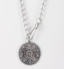 COSTUME CHUNKY EMBOSSED DESIGN MEDALLION PENDANT CHAIN NECKLACE FASHION 0278B