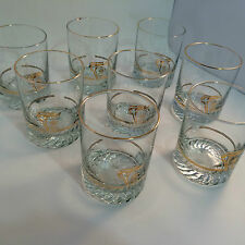 1988 Calgary Olympic Glasses Petro Canada 22K Gold Set of 2 Lowball