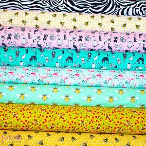 Animal Print Cotton Fabric - 100% Cotton Honey Bees Leopard Unicorns Rainbow