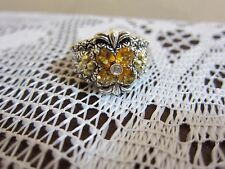 BARBARA BIXBY FLOWER CITRINE TOPAZ RING STERLING 18K GOLD JEZZABEL  SIZE 6  NEW