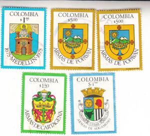 Colombia Arms City Crests Medellin Popayan Cartagena Sogamoso. Used
