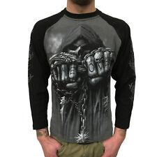 SPIRAL - Game Over Contrast Longsleeve (Gothic Skull Mens Shirt) schwarz/grau