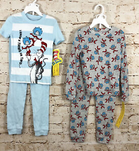 Thing 1 Thing 2 cat in the hat boys size 5T pajamas 4-Piece Pajama Sets NEW B2