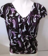 MARIPOSA WOMEN'S PURPLE, BLACK, & GRAY BLOUSE SHORT SLEEVE WRAP STYLE  B32
