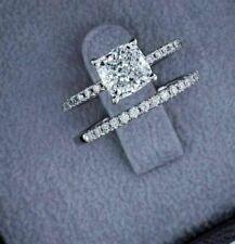 Wedding Ring Set 14K White Gold Fn 2.50 Ct Cushion Near White Moissanite Diamond