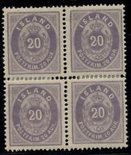 ICELAND #13 (14), 20aur violet, Block of 4, og, LH with sensible reinforcement,