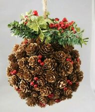 "Mistletoe Pine-cone Ball Decor Red Wall Door Hanging Christmas 9"" Ornament"