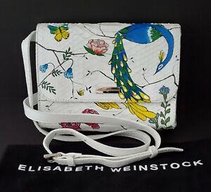 ELISABETH WEINSTOCK NWT $1365 White Paradise Glazed Snakeskin Clutch / Crossbody