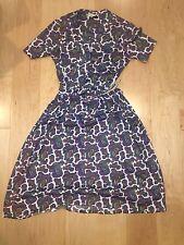 Vintage 1960s McKettrick Blue Paisley Short Sleeve Dress Sz 8