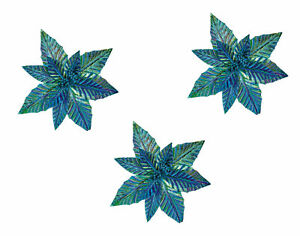 3 x Large Iridescent Peacock Teal Blue Christmas Tree Clip on Flower Decorations