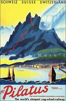 Mount  Pilatus Switzerland 1937 Vintage Poster Print Retro Style Travel Art