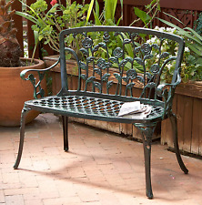 Patio Bench Garden Decorative Rose Antique Copper Outdoor Furniture Deck Yard
