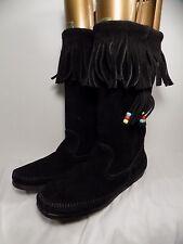 Minnetonka Moccasins Black Leather Beaded Single Layer Fringe Mid Calf Boots Sz9