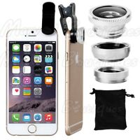 Wide Angle 180° Fish Eye Macro Clip Camera Lens Kit for Smart Phone Silver