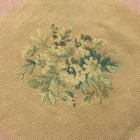 Vtg Needlepoint Chair Seat Cover Large Floral  Faded