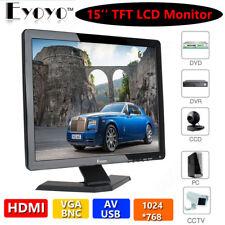 "15"" HD TFT LCD 1080P Monitor VGA AV BNC Video HDMI Input For CCTV Surveillance"