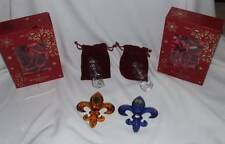 2 NEW Waterford AMBER + COBALT Crystal 2014 Fleur De Lis Lys Ornaments