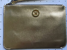 Mimco Supersonica Gold leather pouch medium clutch wallet wristlet AUTHENTIC new