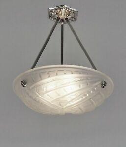 NOVERDY : FRENCH 1930 ART DECO PENDANT CHANDELIER ... suspension lamp muller era
